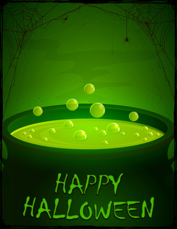 magic potion: Halloween background, witches cauldron with green potion and bubbles, illustration.