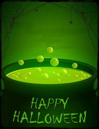 czarownica: Halloween w tle, czarownice kocioł z zielonej mikstury i pęcherzyków, ilustracja.