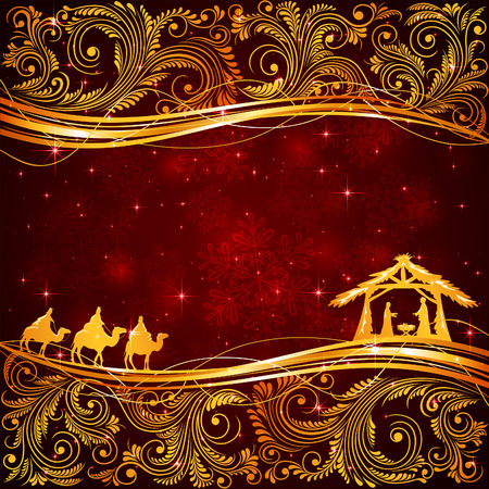 pesebre: Escena cristiana de Navidad con elementos florales de oro sobre fondo rojo, ilustración