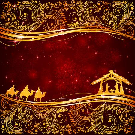 nascita di gesu: Scena di natale cristiano con elementi floreali d'oro su sfondo rosso, illustrazione