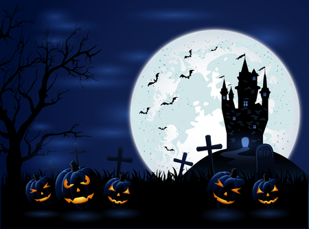 necropolis: Dark Halloween night with Moon and pumpkins, illustration.