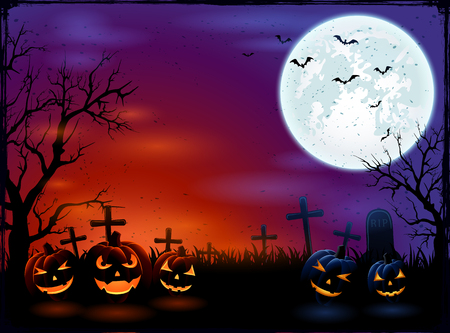 Halloween background with Moon and pumpkins in dark night, illustration.
