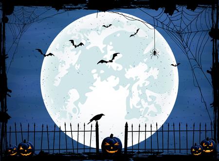 calabazas de halloween: Fondo de la noche de Halloween con la luna azul, calabazas y cuervo, ilustración
