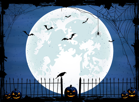 Halloween night background with blue Moon, pumpkins and crow, illustration