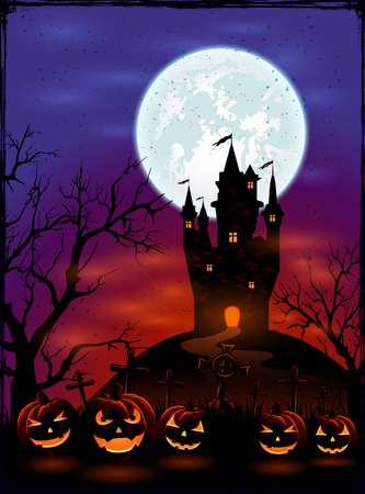 Halloween background with castle, Moon and pumpkins on graveyard in dark night, illustration.