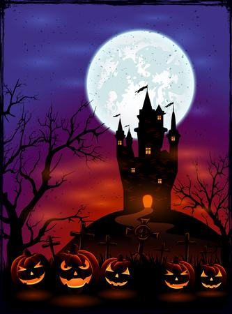 calabazas de halloween: Fondo de Halloween con el castillo, la Luna y calabazas en el cementerio en la noche oscura, ilustración.