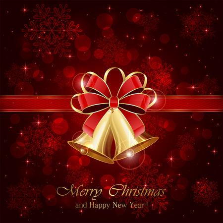 campanas: campanas de Navidad y arco rojo sobre fondo estrellado, ilustración.
