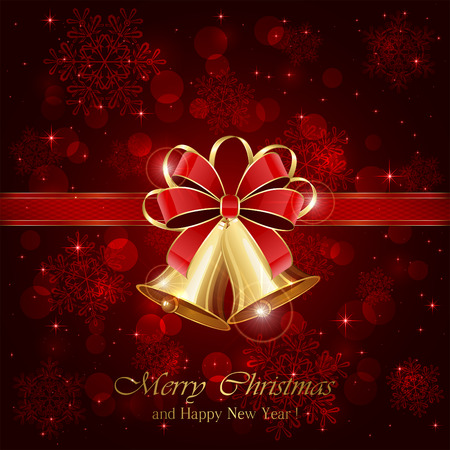 Christmas bells and red bow on starry background, illustration. Banco de Imagens - 45963108