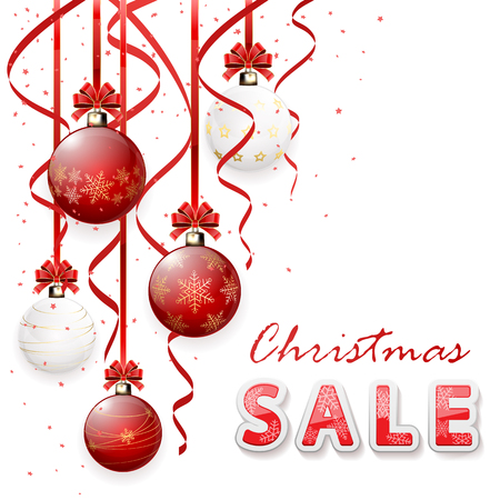 Inscription sale with Christmas balls and tinsel, illustration. Illustration