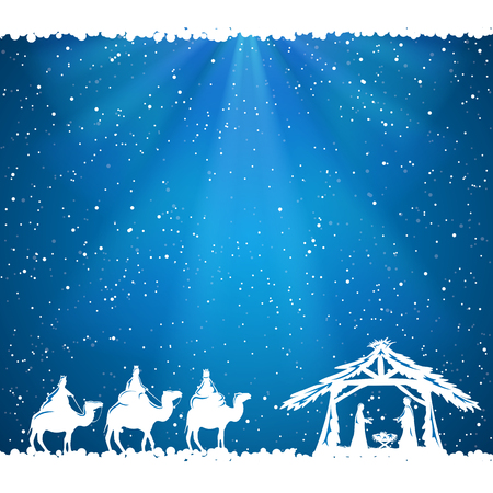 pesebre: Escena de la Navidad cristiana sobre fondo azul, ilustración.
