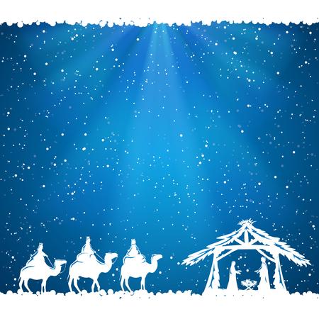 nascita di gesu: Scena di Natale cristiano su sfondo blu, illustrazione. Vettoriali