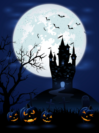 necropolis: Halloween night with dark castle, Moon and pumpkins, illustration.
