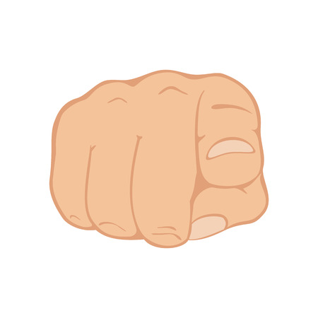 need direction: Pointing finger isolated on white background, illustration. Illustration