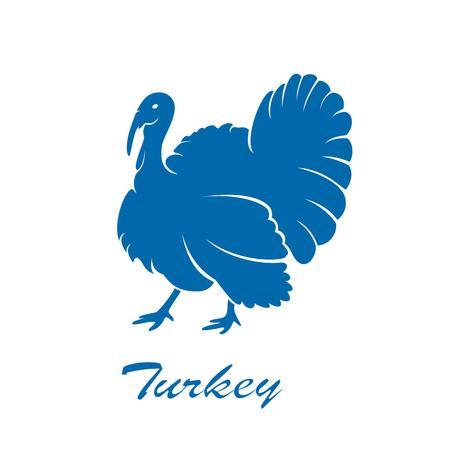 터키 조류의 파란색 아이콘 흰색 배경, 그림입니다.