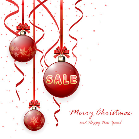 tinsel: Inscription sale on red Christmas balls and tinsel, illustration. Illustration
