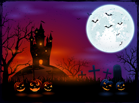 necropolis: Halloween pumpkins on graveyard with dark castle and Moon, illustration.