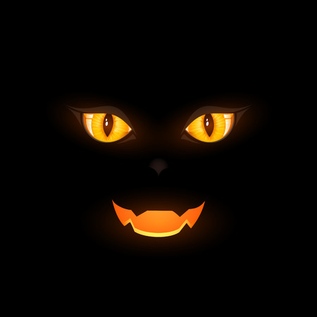 looks: Two cat eyes on black background, illustration.
