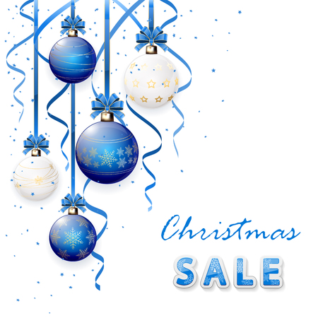 tinsel: Inscription sale with blue Christmas balls and tinsel, illustration. Illustration