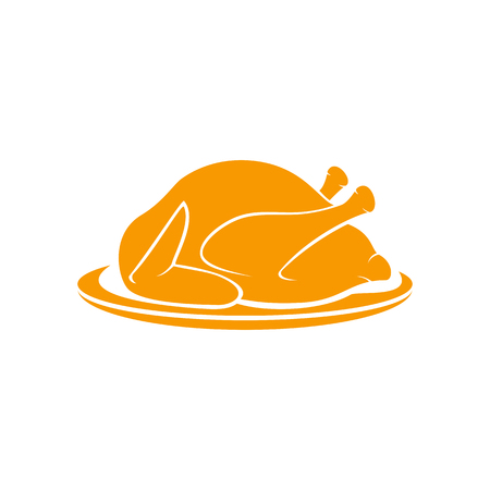 Roast turkey on plate isolated on white background, illustration.