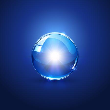 wereldbol: Gloeiende ster in bol op blauwe achtergrond, afbeelding.