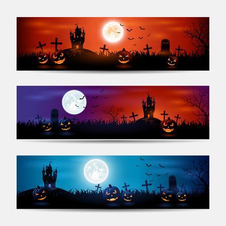 castillos: Banners de Halloween con castillo y calabazas en el cementerio, ilustración. Vectores