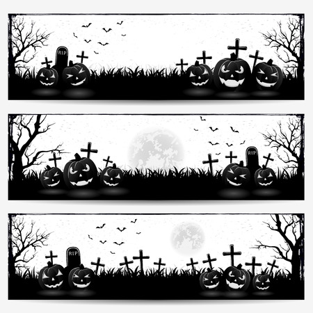necropolis: Black and white Halloween banners with pumpkins on graveyard, illustration. Illustration