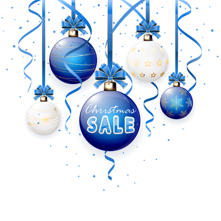 tinsel: Christmas sale on blue Christmas balls with confetti and tinsel, illustration.