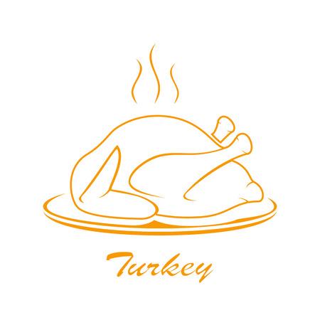 roast turkey: Icon of roast turkey on plate isolated on white background, illustration.