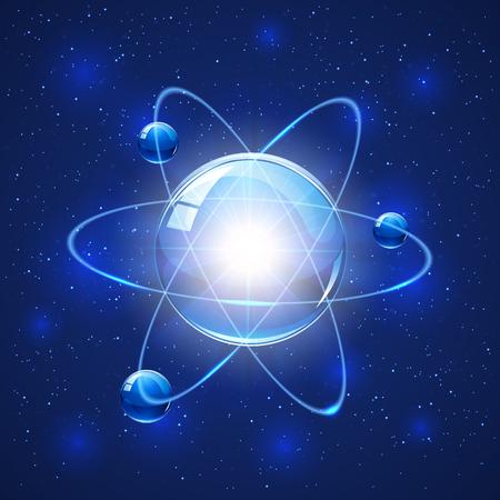el atomo: Modelo del átomo sobre fondo azul de la chispa, la ilustración. Vectores