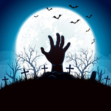 man on the moon: Blue Halloween background with hand on cemetery and Moon, illustration.