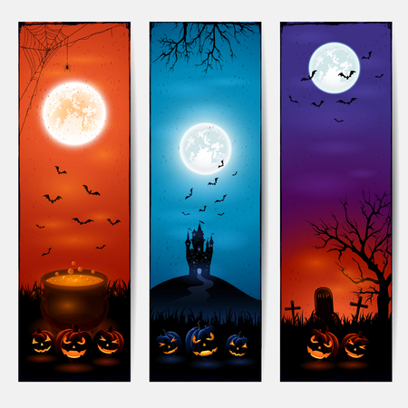 Vertical Halloween banners with castle, pumpkins on graveyard, and witches pot, illustration. Illustration
