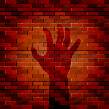 all saints day: Halloween background with shadow of hand on a brick wall, illustration. Illustration