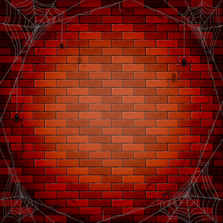 spiderweb: Halloween background with spiders and spiderweb on a brick wall, illustration.