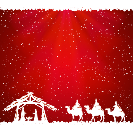 pesebre: Escena de la Navidad cristiana sobre fondo rojo, ilustración. Vectores
