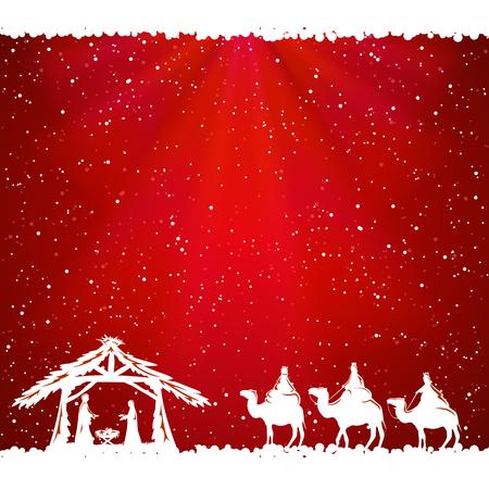 nascita di gesu: Scena di Natale cristiano su sfondo rosso, illustrazione. Vettoriali