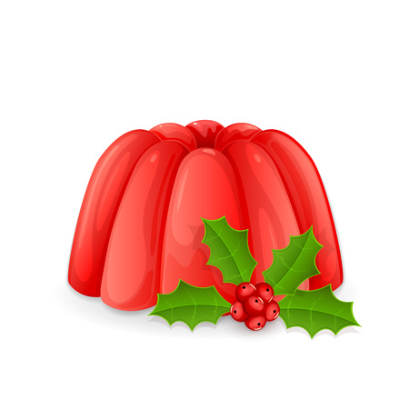 christmas pudding: Red jelly pudding and holly berry isolated on a white background, illustration.