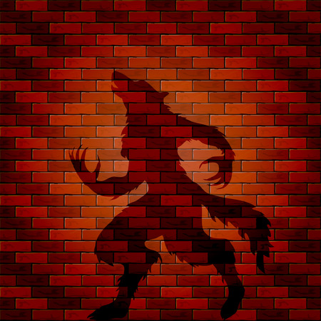 bakstenen muur: Halloween background with shadow of werewolf on a brick wall, illustration. Stock Illustratie
