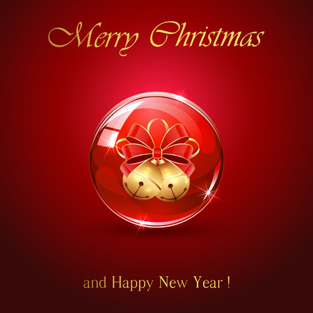 jingle bells: Two Christmas bells in sphere on red background, illustration.