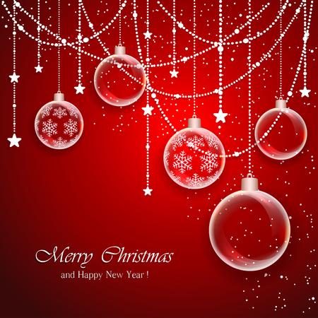 Rode achtergrond van Kerstmis met transparante ballen en decoraties met sterren, illustratie.