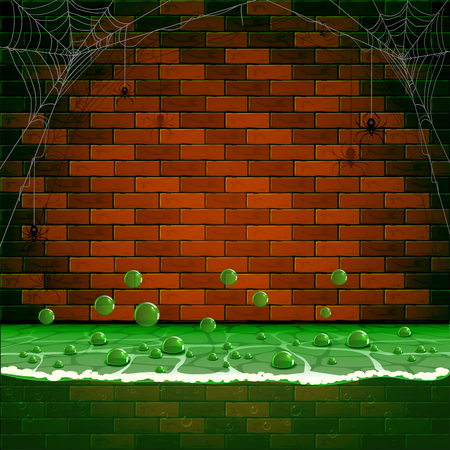 sewer: Sewerage background with spiders and spiderweb on a brick wall, illustration. Illustration