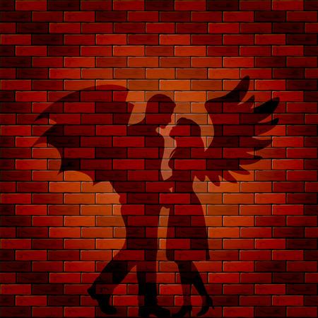 daemon: Shadow of angel and demon on a brick wall, illustration. Illustration