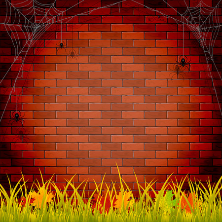 masonry: Autumn background with grass and maple leaves on brick wall background, illustration.