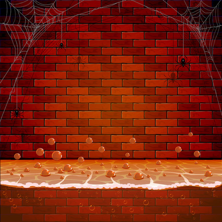 sewer: Brick wall with spiders and spiderweb in the sewerage system, illustration. Illustration