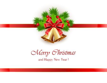 muerdago: La decoraci�n de Navidad, campanas de oro con arco, cinta roja y bayas de acebo en el fondo blanco, ilustraci�n.