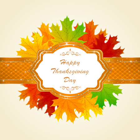 festivals: Thanksgiving day autumn background with maple leaves and decorative card, illustration. Illustration