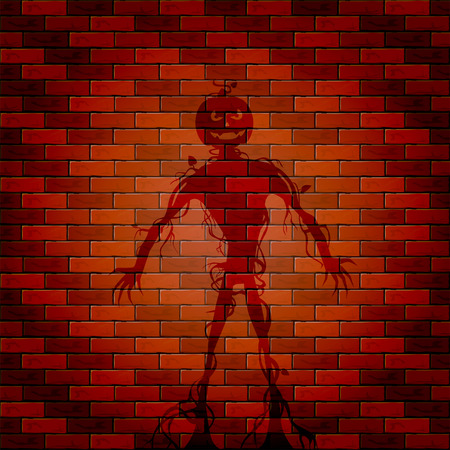 all saints day: Halloween background with shadow of monster on a brick wall, illustration.