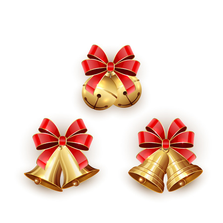 Set of golden Christmas bells with red bow on white background, illustration. Vectores