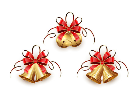 Set of golden Christmas bells with red bow and tinsel on white background, illustration. Illustration