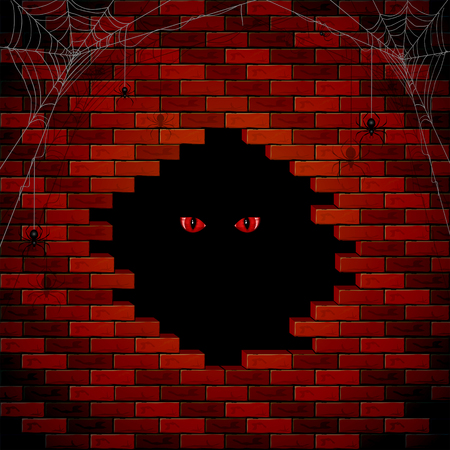 holes: Halloween background with red evil eye in the hole of the brick wall, illustration.