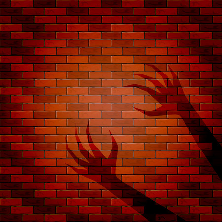 all saints day: Halloween background with shadow of two hand on a brick wall, illustration.